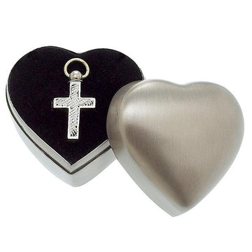 Brushed Pewter Box and Nickel Engraved Cross Pendant