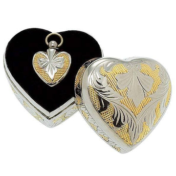Gold White Engraved Heart Box and Heart Cremation Pendant