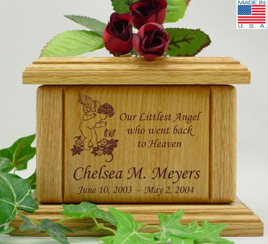 Cherub & Butterfly Wood Infant Cremation Urn