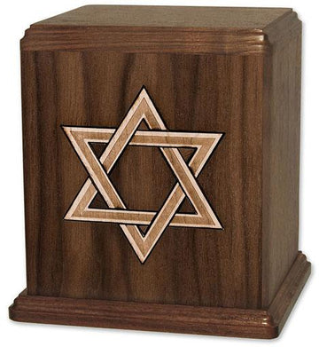 Star of David Inlaid Wood Urn