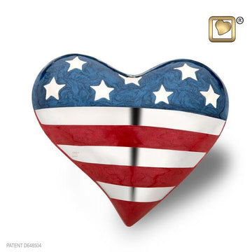 Stars and Stripes Heart Keepsake Urn