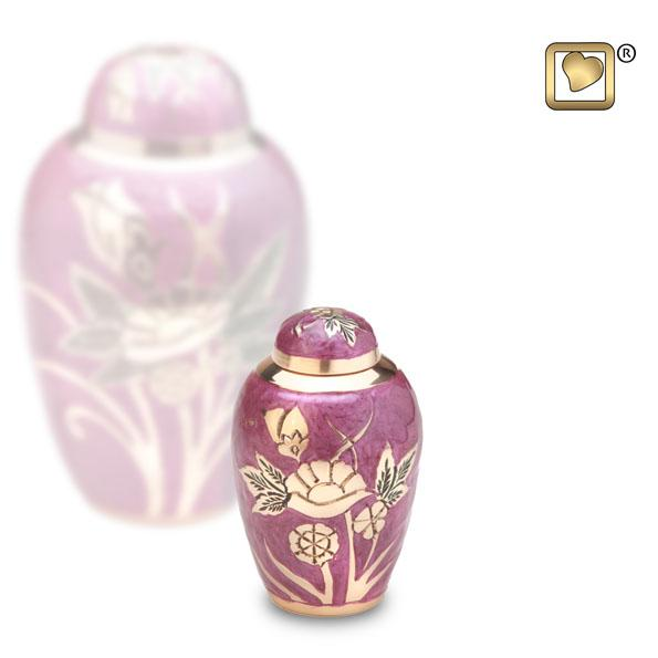 Lilac Rose Solid Brass Keepsake Urn