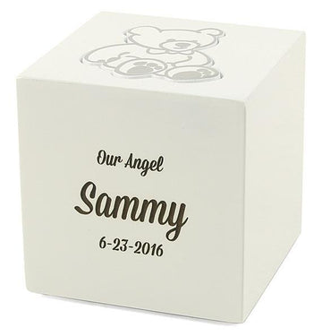 White Teddy Bear Infant Urn