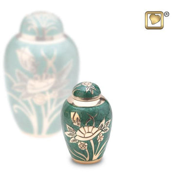 Emerald Rose Solid Brass Keepsake Urn