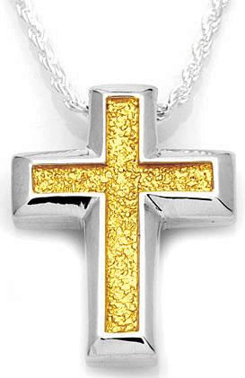 Large Sand Textured Cross with Gold Accent Pendant