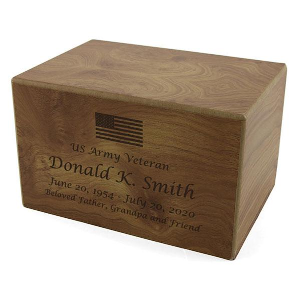 Patriotic Box Urn Natural