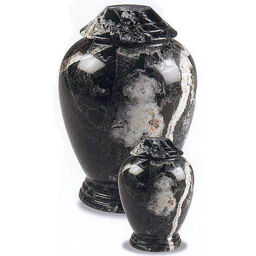 Black Zebra Marble Pet Urn I