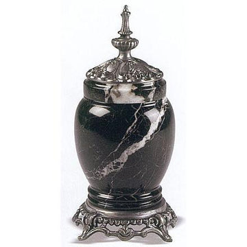 Black Zebra Marble - Metal Pet Urn