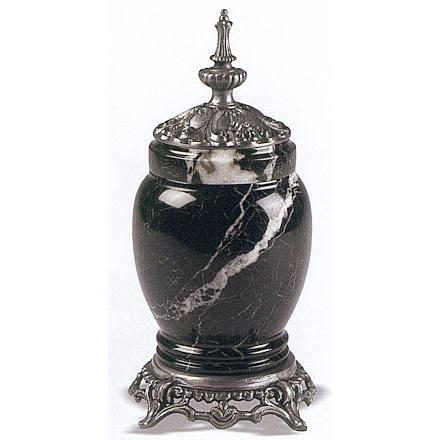 Black Zebra Marble - Metal Infant Urn