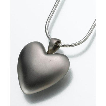 White Bronze Heart Cremation Pendant