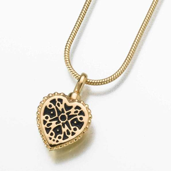 Filigree Heart Pendant Cremation Keepsake