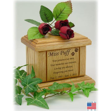 Memorial Poem Pet  Wood Urn Mini