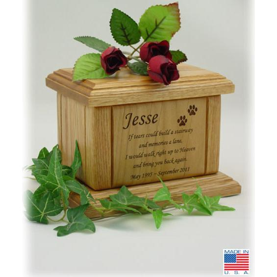Memorial Poem Pet Wood Urn Small