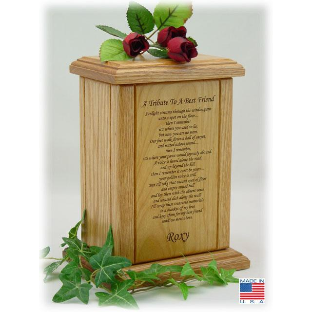 Memorial Poem Pet Wood Urn Medium Vertical