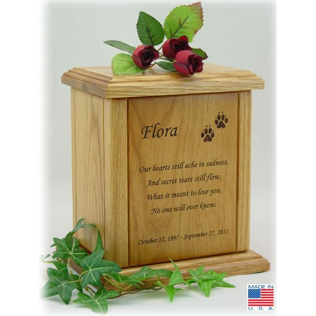 Memorial Poem Pet Wood Urn Large