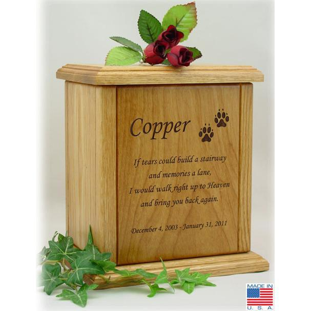 Memorial Poem Pet Wood Urn X-Large