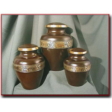 Mahogany Finish Solid Brass Pet Urn