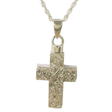Etched Cross Keepsake Cremation Pendant