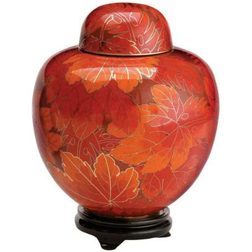 Fall Leaf Cloisonné Urn