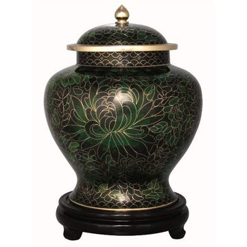 Forest Green Cloisonné Urn