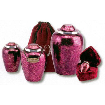 Alloy Pet Urn hand Brushed Burgundy Plumb