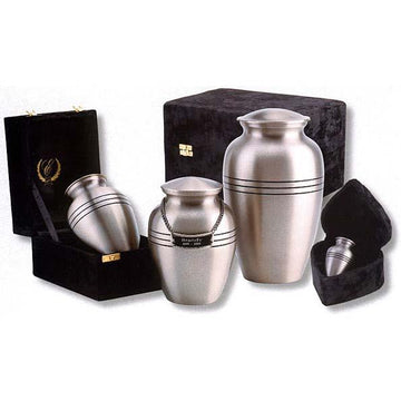 Classic Brushed Pewter Pet Urn