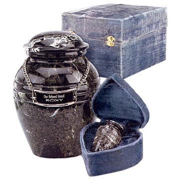 Black Grain Marble Pet Urn