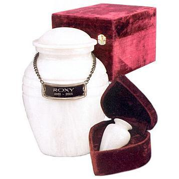 White Grain Marble Pet Urn