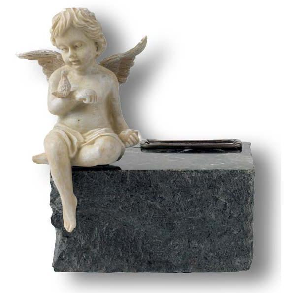 Angel & Black Marble Infant Urn