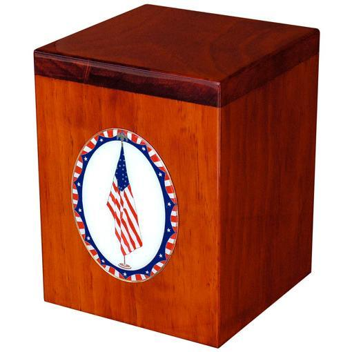 Serenity Patriotic Flag Wood Urn