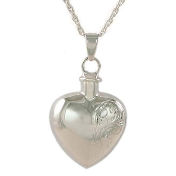 Half Etched Heart Keepsake Pendant