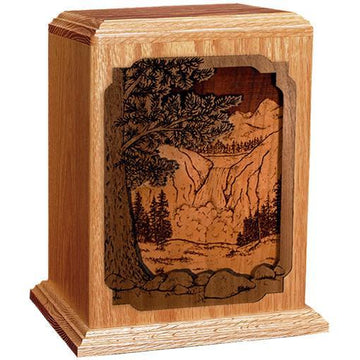 Waterfall Handcrafted Wood Urn
