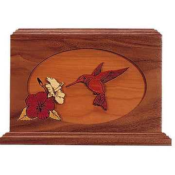 Hummingbird Wood Handcrafted Urn