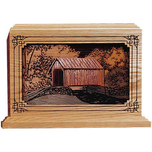 Covered Bridge Wood Handcrafted Urn