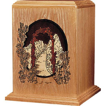 Garden Walk Wood Handcrafted Urn