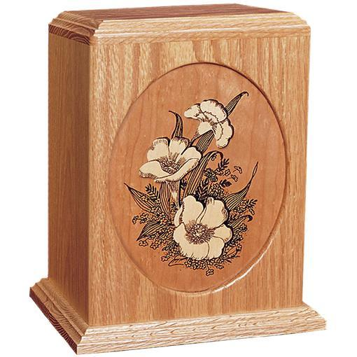 Floral Handcrafted Wood Urn