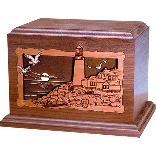 Lighthouse Wood Handcrafted Urn