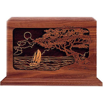 Seascape Wood Handcrafted Urn
