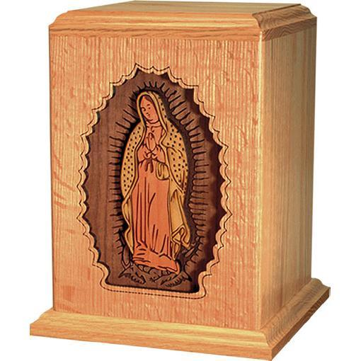 Lady of Guadalupe Wood Handcrafted Urn