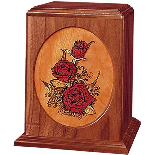 Rose Bouquet Handcrafted Wood Urn