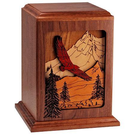 Soaring Eagle in Walnut Cremation Urn