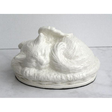 Cat Urn in Cold Cast White