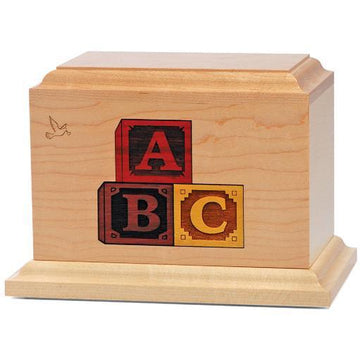 Letter Blocks Infant Urn in Maple