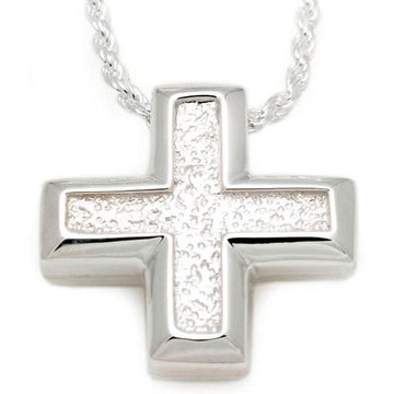 Short Sand Textured Cross Pendant