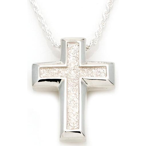 Small Sand Textured Cross Pendant
