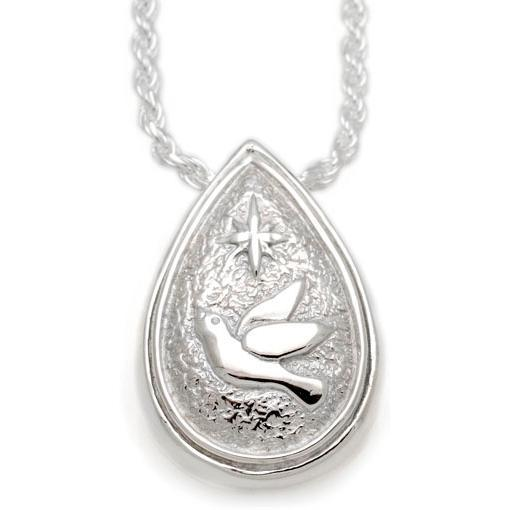 Teardrop Dove & Star Pendant