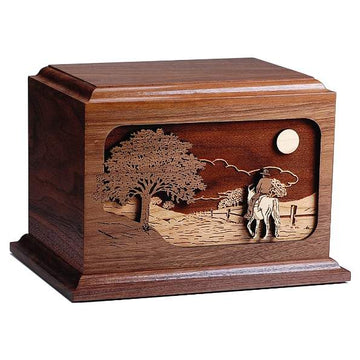 The Horse Ride Home Wood Urn