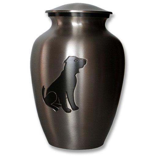 Pewter Slate Dog Urn with Engraved Image