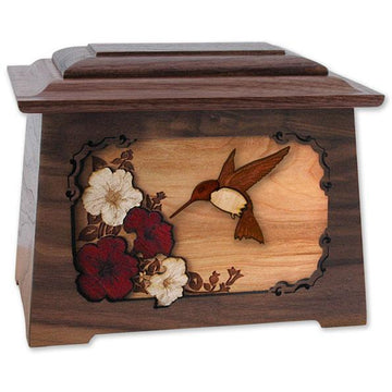 Hummingbird Wood Urn