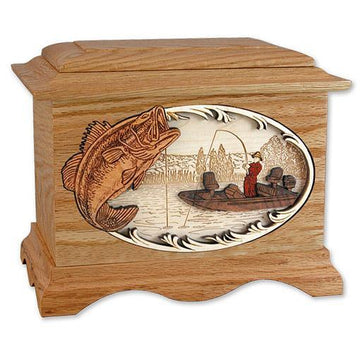 Boat Fishing Wood Urn